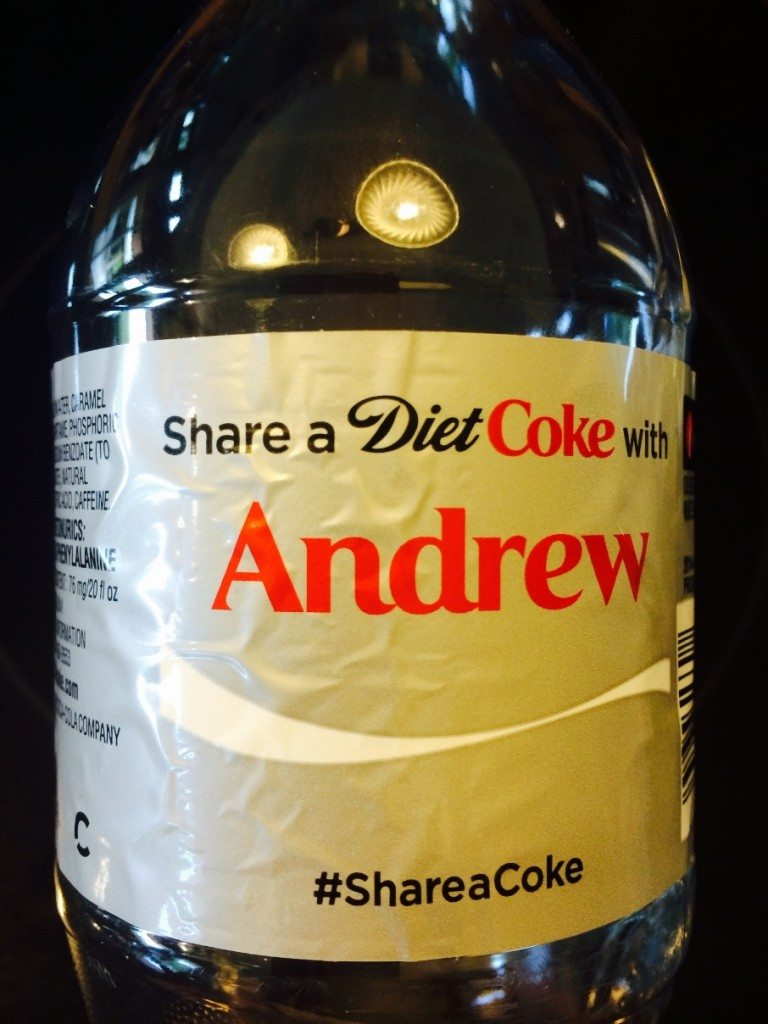 Diet Coke bottle with the name Andrew printed on it