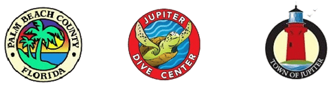 Logos for Palm Beach County, Town of Jupiter and Jupiter Dive Center