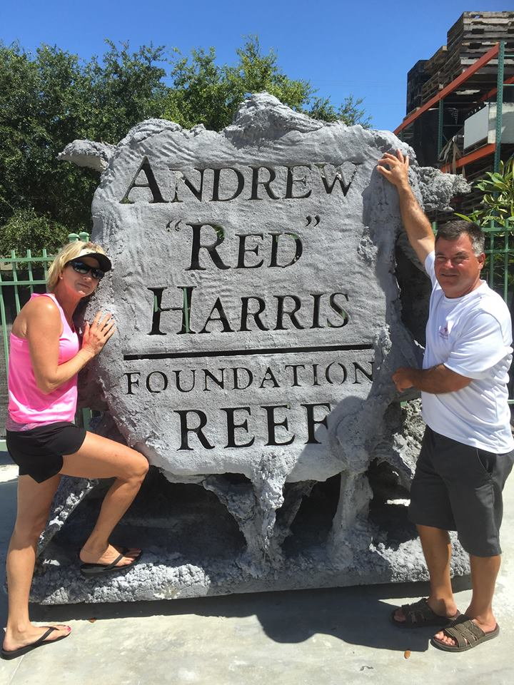 """Martha and Scott Harris with the first Reef Cell module that will become the Andrew """"Red"""" Harris Reef"""